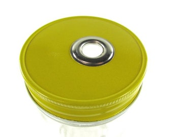 YELLOW One Piece Jar To Go Cup Lid- Regular Mouth Jar- Mason Jar To Go Cup Lid