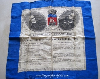 French Historical Silk Scarf Union de Tous Les Groupes Republicans Souvenir of the 1877 Elections Thiers Gambetta