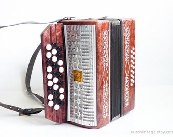 Vintage Small Accordion Red / Russian / for kids / Working