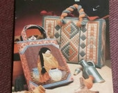 Plastic Canvas, SOUTHWEST TOTES, Annies Attic. 15 page pattern book, 1991, Patchwork, Indian, Apache, Navaho, Dated 1992
