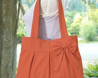 Summer Sale 10% off orange cotton fabric purse with bow / canvas tote bag / shoulder bag / hand bag / diaper bag - zipper closure