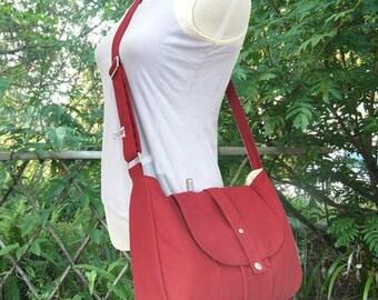 Holiday On Sale 10% off red cotton canvas bag / messenger bag / shoulder bag / purse / everyday bag / diaper bag / cross body bag - 6 pocket
