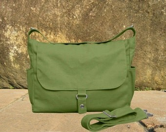 messenger bag, grass green diaper bag, shoulder bag, canvas travel bag with zipper closure