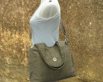 Olive canvas fabric messenger bag, womens tote bag, hand bag, market  bags wholesale