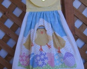 Easter Chicks and Eggs Kitchen Tea Towel LAST ONES Easter Hanging Dish Towel Yellow Chick Easter Kitchen Towels SnowNoseCrafts