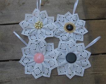 White Cotton Snowflake Ornament, U-Pick Center, Snowflake Decor, White Tree Ornament, Cotton Ornament, White Christmas