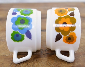 French Expresso Cups Milk Glass Arcopal coffee retro floral blue orange
