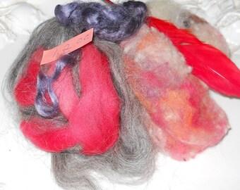 Wool roving fiber needle felting wet felting nuno felting American sheep  curly locks   1.2 oz.  pack #7
