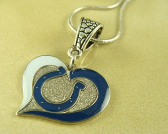 INDIANAPOLIS COLTS NFL heart pendant with silver chain necklace