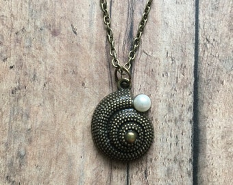 Bronze nautilus necklace