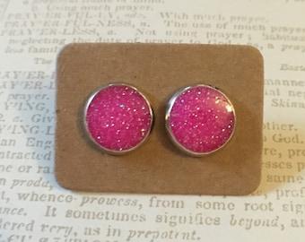 Gorgeous hot pink glitter resin studs