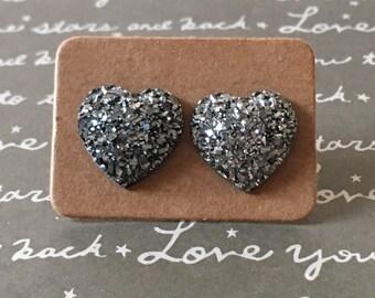 Gorgeous gray druzy heart studs