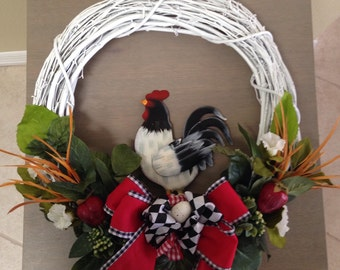 Country Rooster Wreath-Annie Gray Design - Rooster Tail-Country Picnic-Ranch Decoration-Farm Decor-Primitive Rooster-Barnyard Wreath-Rustic