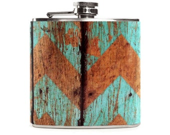 Blue Wood Print Flask, Wooden Chevron Pattern, Rustic Country Outdoor Wedding, Bridesmaid 6oz Hip Flask
