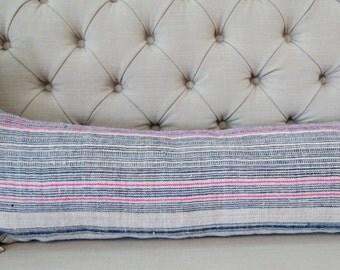 36x15 Pillow case, Vintage Hmong Hemp cushion cover, Handwoven Hemp Fabric,Scatter cushions,