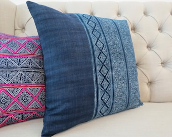 Vintage Indigo batik Hmong cushion cover, Handmade Batik Fabric,Decorative Cushion,Throw Pillow,Decorative Pillow