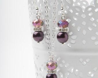 Plum wedding Jewelry Set, Plum bridesmaid jewelry, plum earrings and necklace set, Plum wedding jewelry, bridesmaid gift, bridal party gift