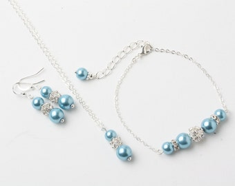 Dusty blue Bridesmaid jewelry set, Dusty blue earrings and necklace set, Dusty blue wedding jewelry set, bridesmaid gift, Dusty blue jewelry