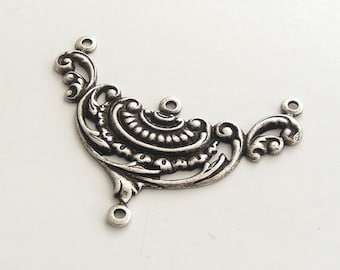 LuxeOrnaments Oxidized Sterling Silver Plated Brass Filigree Stamping Necklace 3 Ring Connector 1 pc 39x29mm X456-VJS F-A347-1
