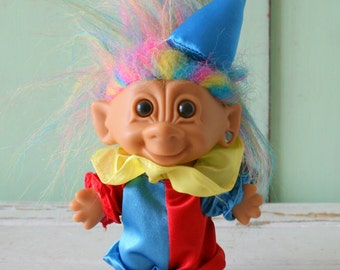Vintage TROLL Doll...doll. collectible. clown. 1980s. 1990s. kitsch. retro. vintage toys. crazy. hippie troll. happy birthday. princess.