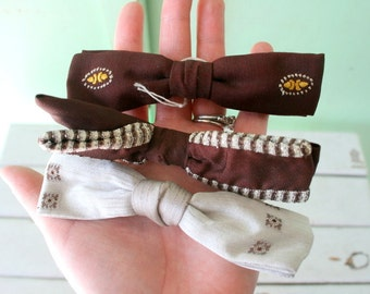 1950s DAPPER Mens Bow Tie Set of 3.....retro. mens accessories. rat pack. set of bow ties. mad men. silk tie. 50s. 60s. classic. atomic