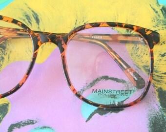 Vintage BLACK AMBER Glasses..new old stock. classic. groovy. twiggy. mod. retro glasses. librarian. secretary. woodstock. oversized