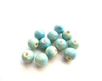12 Large Hole Glazed Porcelain Beads