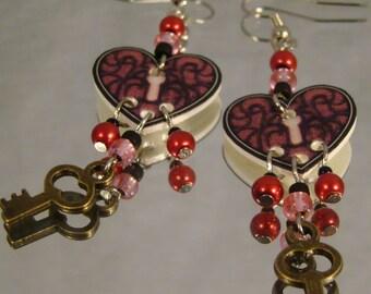 Heart shaped Lock and Key Dangle Earrings - Valentine's Day