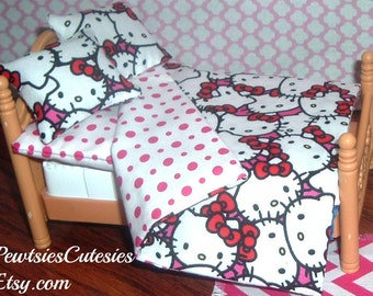 Hello Kitty 4pc Bedding 12 inch Miniature Dollhouse Set Includes Reversible Blanket, Mattress, 2 Pillows ~ Anime, 1:12