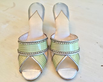 1920s Rhinestone Flapper Shoes with Silk and Silver Leather