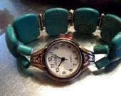 Beaded Reconstructed Turquoise stretch Watch Band