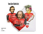 Printable Valentines card Poe, Shakespeare, and Frida Kahlo, Famous Quotes Articulated Hearts DIY Cards