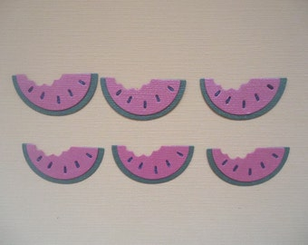6 Watermelon Slices Embellishment Die Cuts for Scrapbooking Cards and Paper Crafts Food Fruit Summer Paper Watermelons