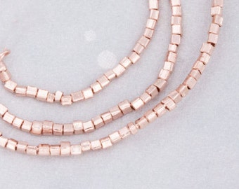 180 of Karen hill tribe Rose Gold Vermeil Style Tiny Cube Beads 1 mm. :pg0193