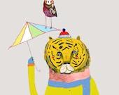 Boy nursery art girl nursery room decor cat print illustration poster for kids wall decor. ''Tiger with Umbrella and Owl''.