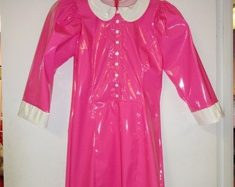 CLEARANCE Peterpan dress Neon Pink w/ white collar Large Artifice Clothing