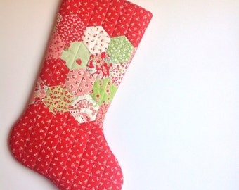 Hand Appliqued Quilted Christmas Stocking - Hexagons