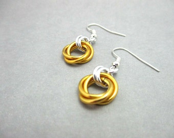 Gold Mobius Chainmaille Earrings