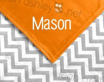 Baby Blanket - Gray Chevron MINKY, Orange MINKY Smooth - Blake - BB1