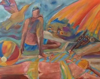 "LayBack 18""x24""x1.5"" Original beach scene painting Free Ship"