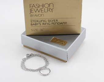 Vintage 1982 Signed Avon RARE Sterling Silver Baby's Ring Pendant .925 Cable Chain Choker Length Necklace in Original Box NIB