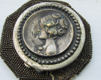 Art Nouveau Beaded Miser Purse and Two Vintage Silver Tone Powder Compacts