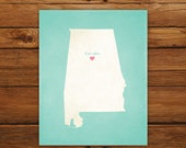 Customized Alabama State Art Print, State Map, Heart, Silhouette, Aged-Look Personalized Print