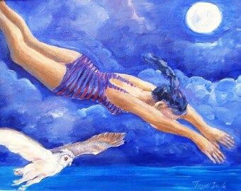 Moonbather -   Print 6 x 8 ins -of my  Acrylic painting with free mat