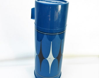 Vintage Aladdin Thermos, Coffee Thermos, Harlequin, Camping Gear, Beverage Holder, Blue Black