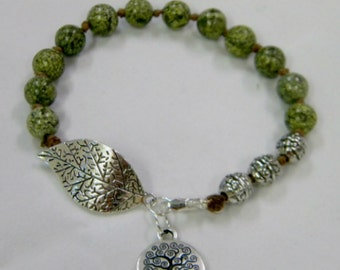 Knotted Hemp Bracelet/Moss Agate Stone/Heart Chakra/Tree Of Life/Boho Chic