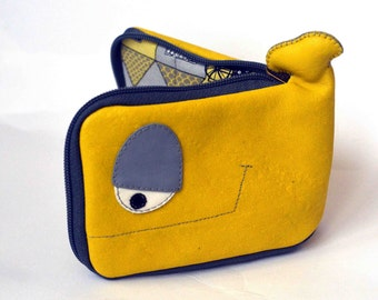 Yellow and gray  Whale wallet,cats on rooftops inside,ready to ship