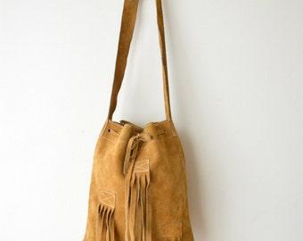 Fringe Hippie Messenger Bag Vintage Shoulder Bag Purse Yellow Suede Leather