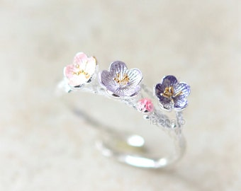 Apricot Blossom Ring in 925 sterling silver/ flower ring