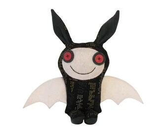 Stuffed Bunny Bat, Winged Bunny Rabbit, Plush Animal, Fabric Monster Toy, Bunny Stuffie, Handmade Bunny Plush,  Byron The Happy Monster Toy